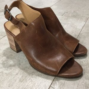 Lucky Brand 🍀 Size 7 Sling Back Peep Toe Booties